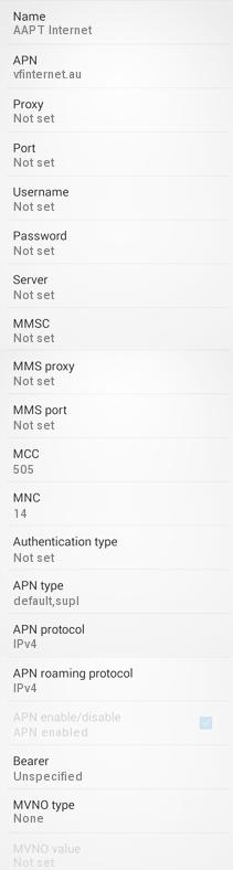 AAPT Internet and MMS Carrier Settings for Android