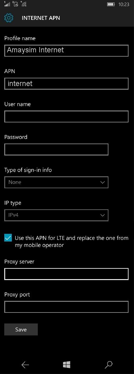 Amaysim APN Settings for Windows Phone