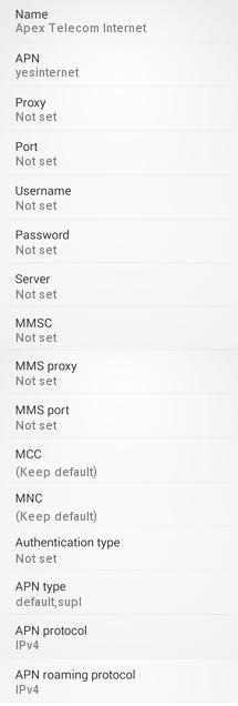 Apex Telecom Internet Settings for Android Sasmung Galaxy S4 HTC Nexus