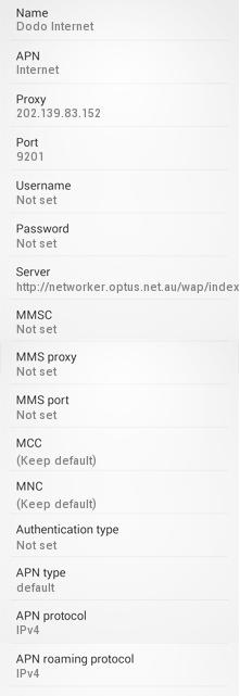 DODO 3G LTE APN Settings for Android Galaxy