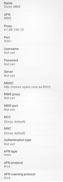 DODO mms Settings for Android Galaxy