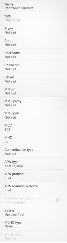 InterNode APN Settings for Android HTC Desire Samsung Galaxy S3 S4 S5 Xperia
