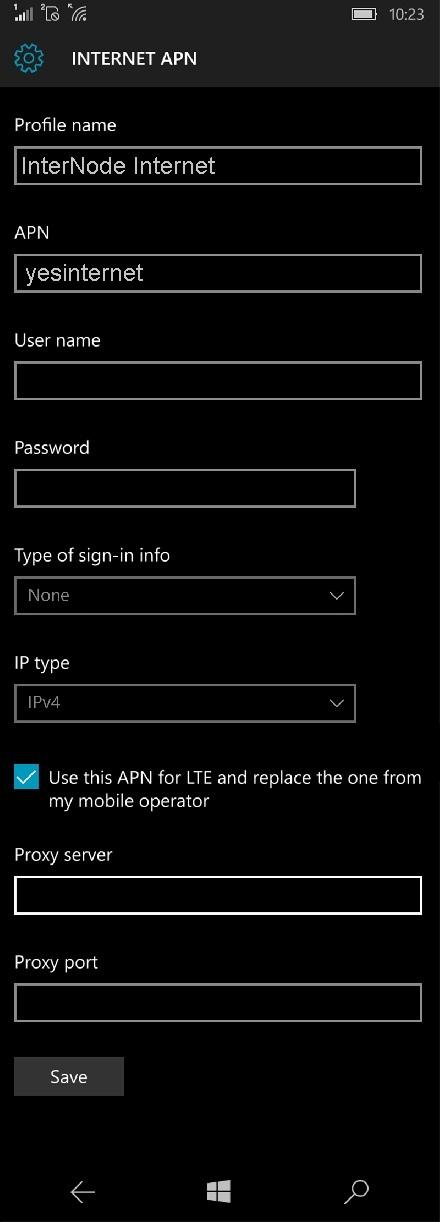 InterNode APN Settings for Windows Phone