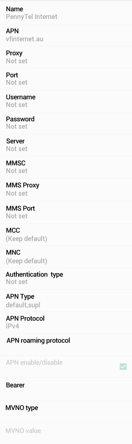 Pennytel APN Settings for Android HTC Desire Wildfire Samsung Galaxy S Nexus