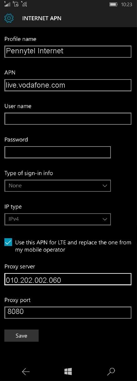 Pennytel APN Settings for Windows Phone 10