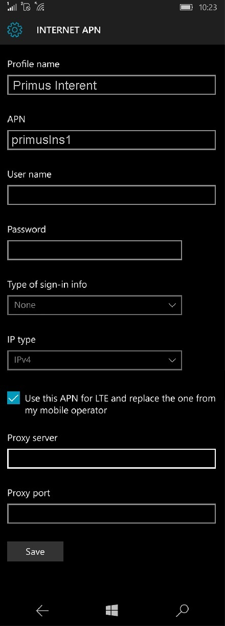 Primus APN Settings for Windows Phone