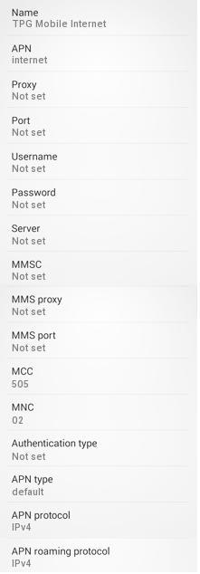 TPG APN Settings for Android Galaxy - 4G LTE APN Australia