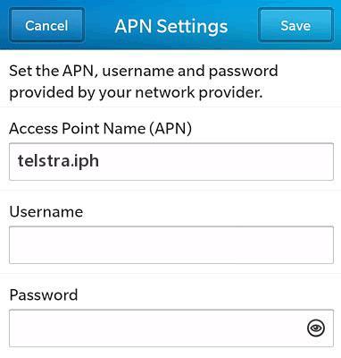 Telstra APN Settings for Blackberry z10 Torch Curve Passport