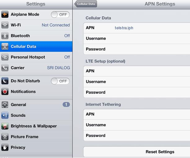Telstra APN Settings for iPad Air Mini 2 3