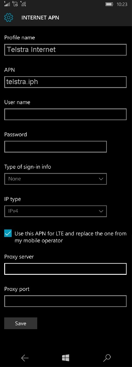 Telstra APN Settings for Windows Phone 10