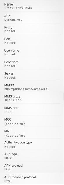 Crazy John's MMS APN Settings for Android HTC