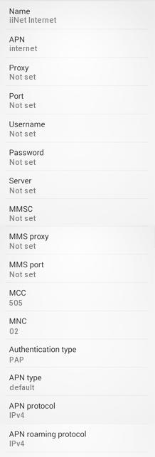iiNet APN Settings for Android HTC Samsing Galaxy Xperia