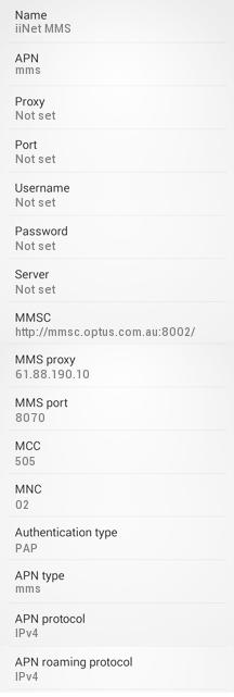 iiNet MMS APN Settings for Android: