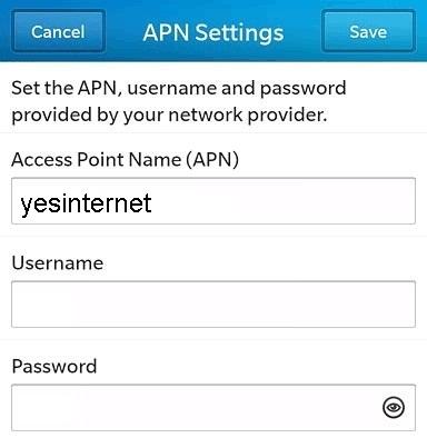 Exetel APN Settings for Blackberry