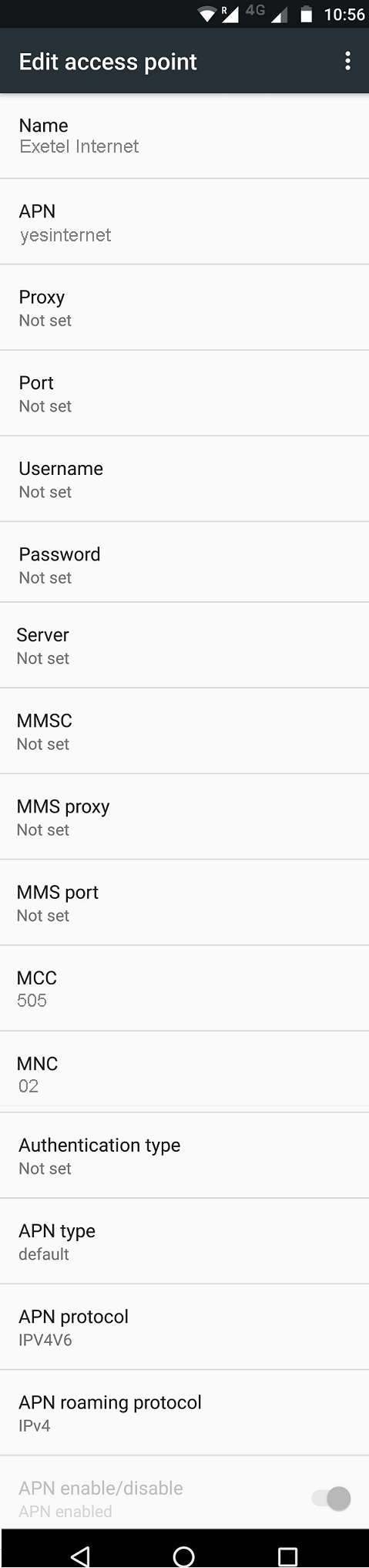 Exetel 4G APN Settings for Android Galaxy