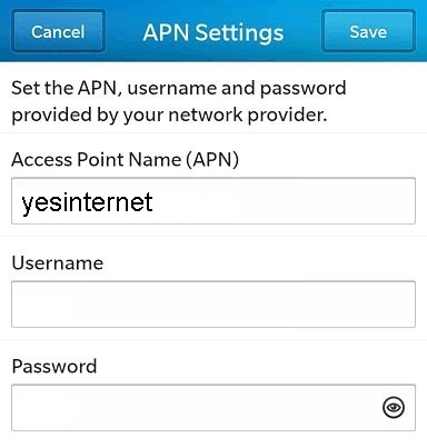 Optus 4G APN Settings for Blackberry