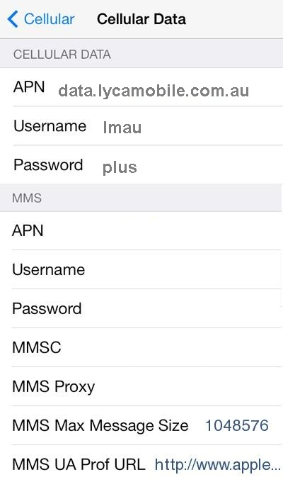 Lycamobile AU APN Settings for iPhone
