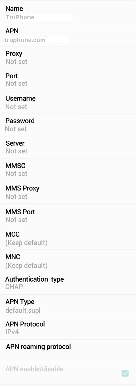TruPhone APN Settings for Android