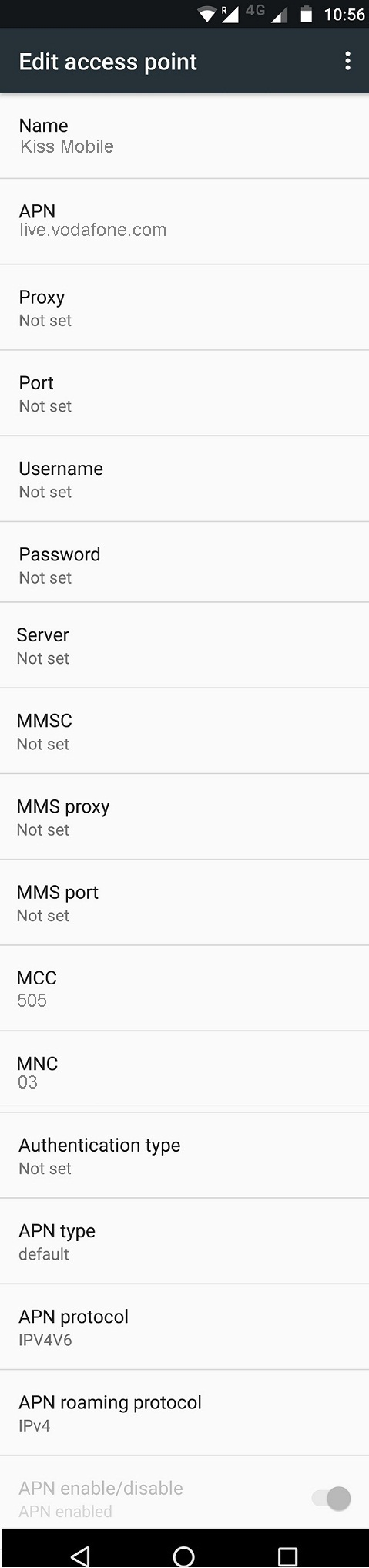 Kiss Mobile APN Settings