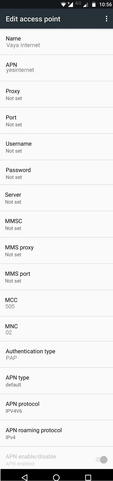 Vaya Mobile APN Settings