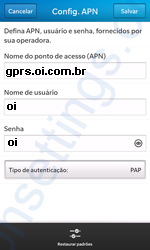 Configurar APN OI no Blackberry