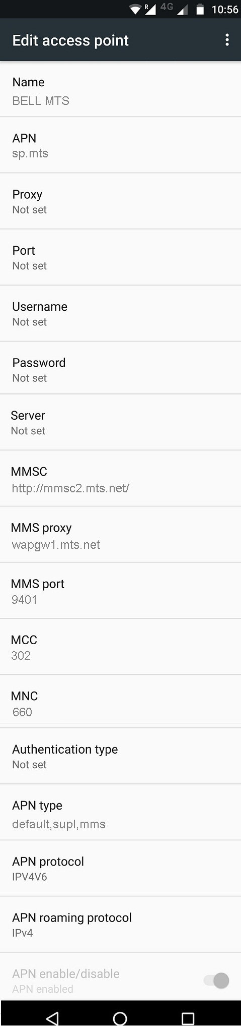 BELL MTS APN Settings for Android