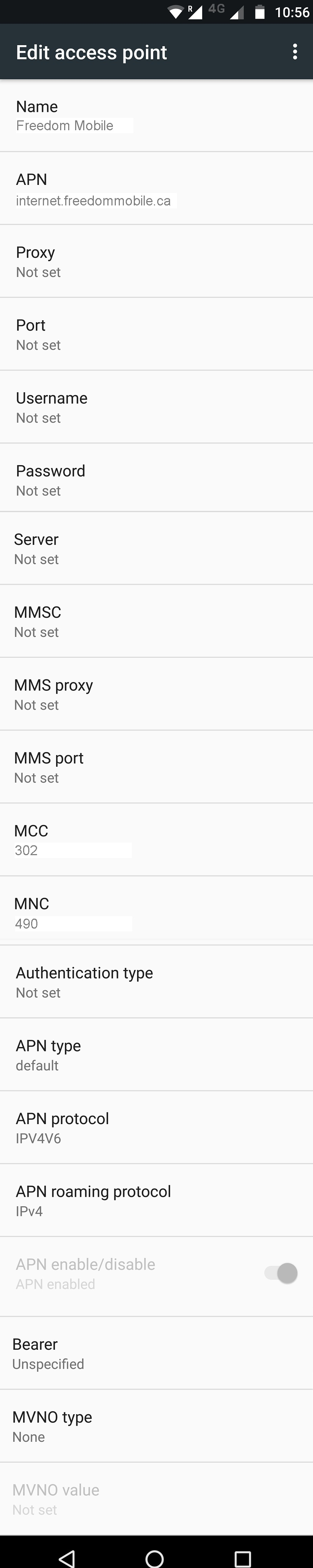 Freedom Mobile LTE APN Settings for Android