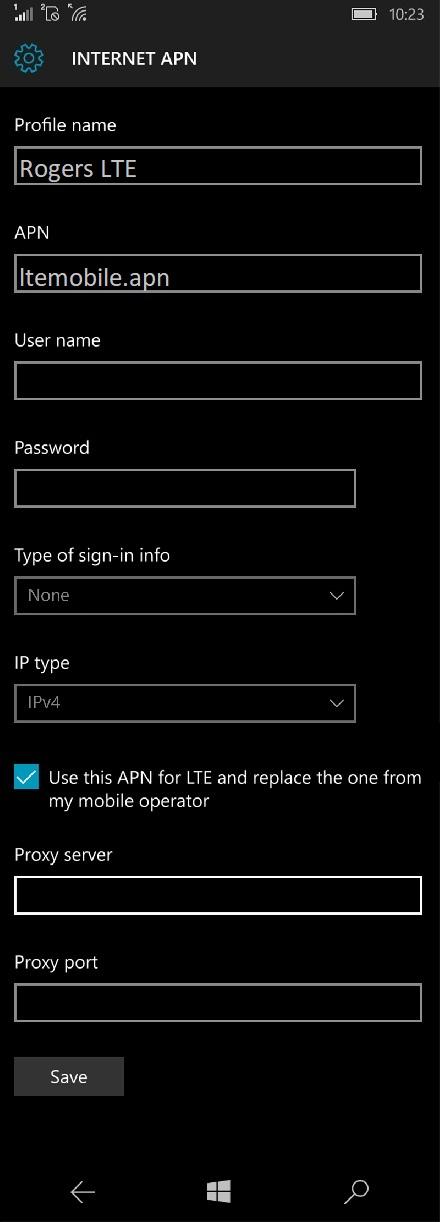 Rogers APN Settings for Windows Phone