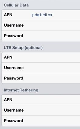 Bell Mobility LTE Internet APN Settings for iPhone