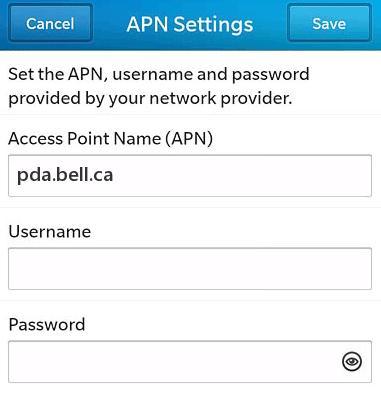 Bell Canada APN Settings for Blackberry z10 q10 990