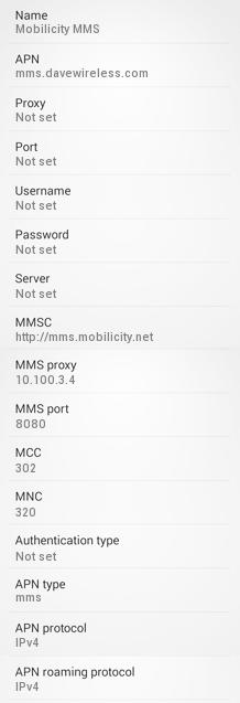 Mobilicity MMS APN Settings for Android