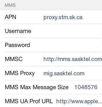 SaskTel internet and mms APN Settings for iPhone 4 5 6S iPad