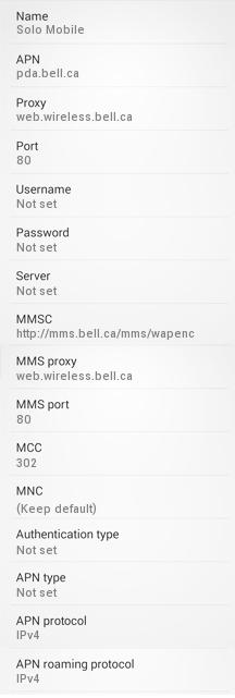 Solo Mobile Internet Settings for Android Samsung Galaxy S4 HTC Nexus