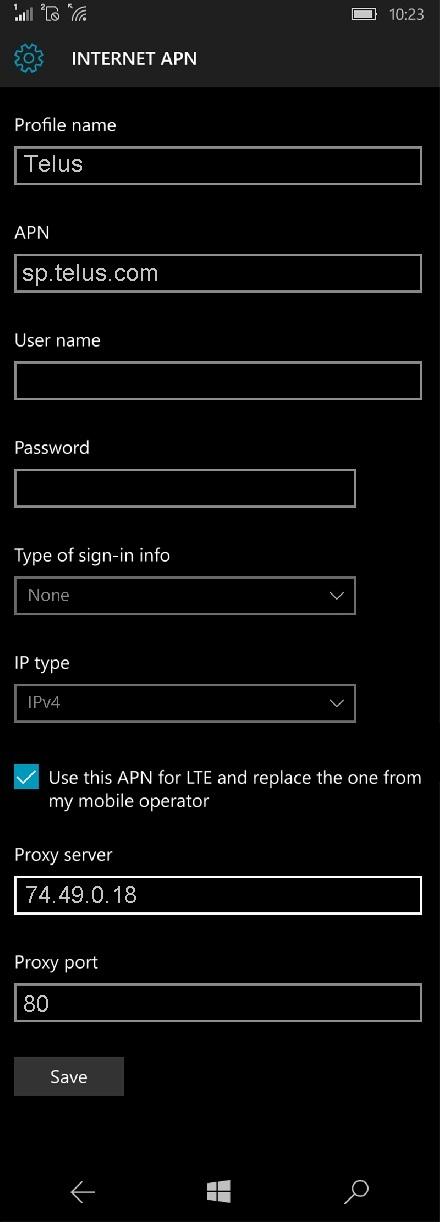 Telus APN Settings for Windows Phone 10