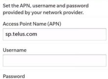 Telus APN Settings for Blackberry 10 9900 9700 Bold