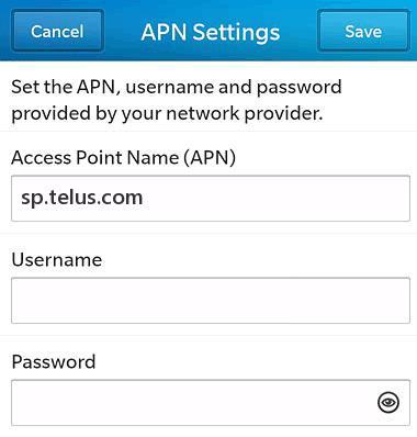 Telus APN Settings for Blackberry 10 9900 9700 Bold Classic