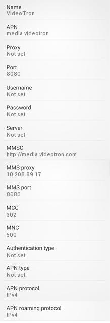 Videotron 4G APN Settings for Android HTC Nexus One Samsung Galaxy