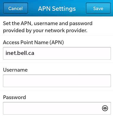 Virgin Mobile Canada LTE APN Settings for Blackberry
