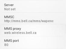 Virgin Canada APN Settings for android