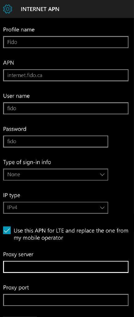 Fido Internet Settings For Windows Phone 10