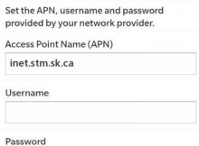 SaskTel LTE APN Settings for Blackberry