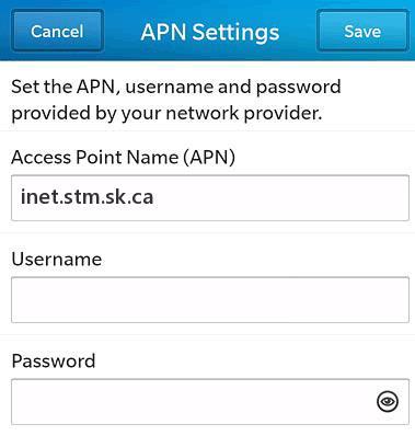 SaskTel LTE APN Settings for Blackberry