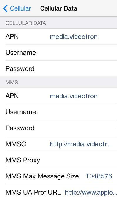 Videotron 4G LTE APN Settings for iPhone