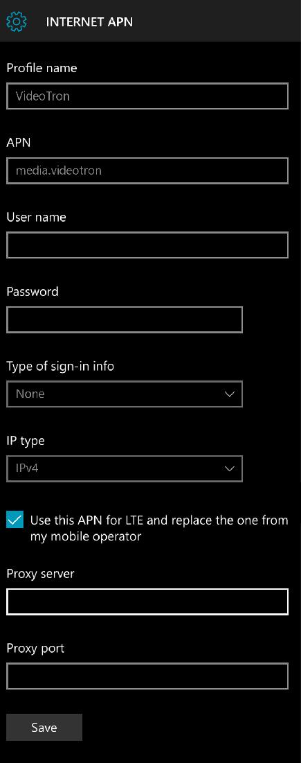 Videotron APN Settings for Windows Phone 10
