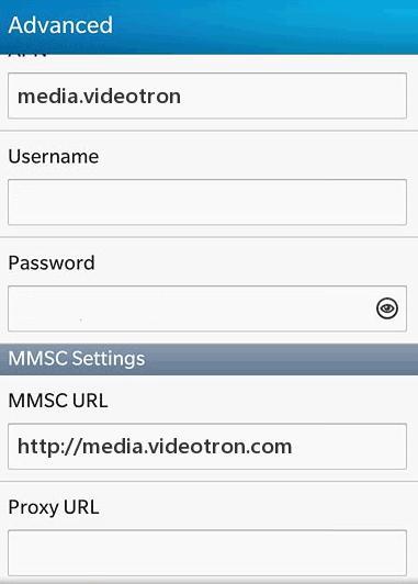 Videotron MMS Settings for Blackberry