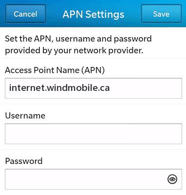 Wind APN Settings for Blackberry 10