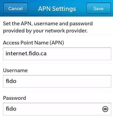 Fido APN Settings For Blackberry z10