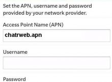 Chatr APN Settings for Blackberry