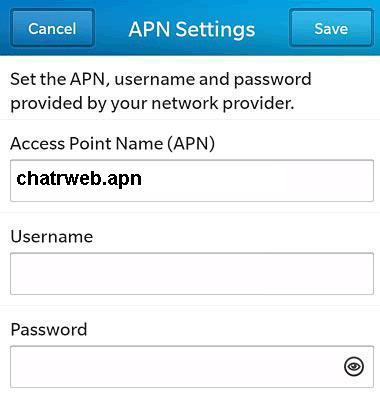 Chatr APN Settings for Blackberry