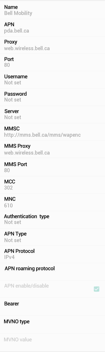 Bell LTE APN Settings for LG G5 G4